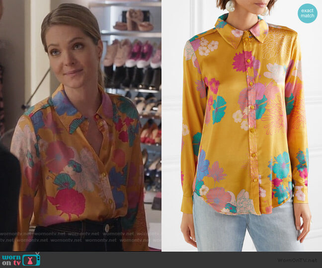 Maxwell floral-print silk-blend charmeuse shirt by Stine Goya worn by Sutton (Meghann Fahy) on The Bold Type