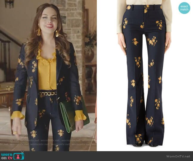 Camellia Fil Coupé Cotton & Wool Flare Pants by Gucci worn by Fallon Carrington (Elizabeth Gillies) on Dynasty