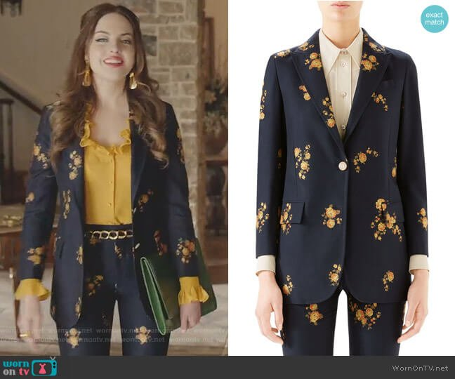 Camellia Fil Coupé Cotton & Wool Jacket by Gucci worn by Fallon Carrington (Elizabeth Gillies) on Dynasty