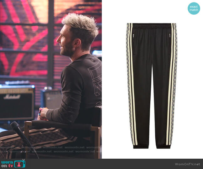Oversize Technical Jersey Jogging Pant by Gucci worn by Adam Levine  on The Voice