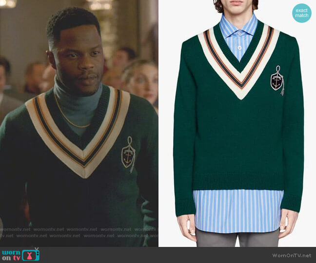 Wool Sweater with Anchor Crest by Gucci worn by Jeff Colby (Sam Adegoke) on Dynasty