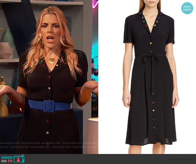 Maria Pajama Midi Dress by HVN worn by Busy Philipps  on Busy Tonight