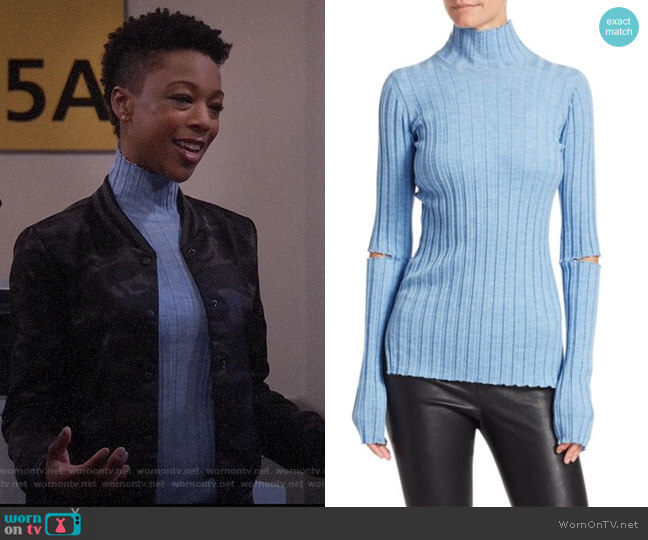 Wool Slash Turtleneck Sweater by Helmut Lang worn by Samira Wiley on Will and Grace