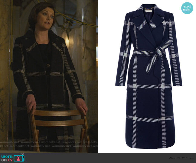 Florina Check Coat by Hobbs worn by Maia Rindell (Rose Leslie) on The Good Fight