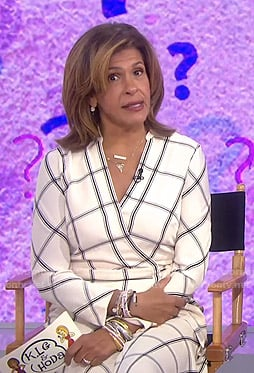 Hoda's white check wrap dress on Today