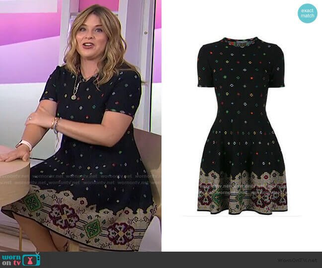 Intarsia Dress 2017 Collection by Alexander Mcqueen worn by Jenna Bush Hager  on Today