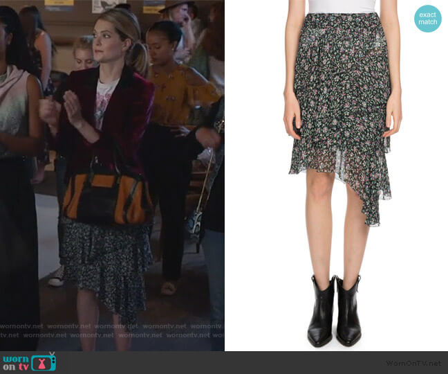 Jeezon Floral-Print Asymmetric Skirt by Etoile Isabel Marant worn by Sutton (Meghann Fahy) on The Bold Type