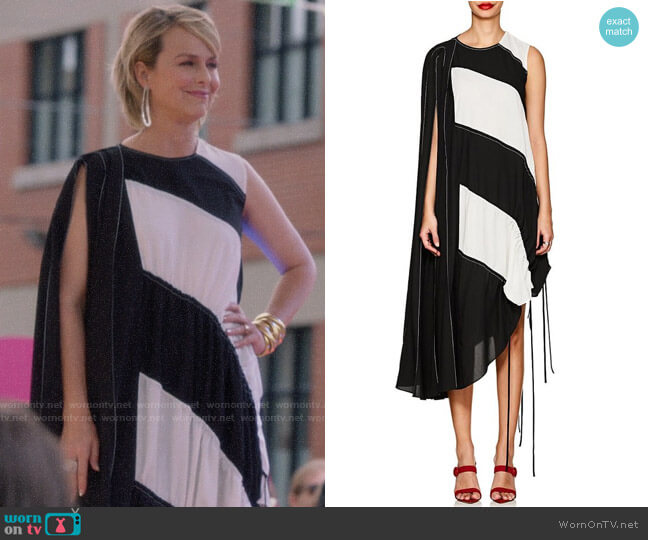 J KOO Block-Striped Crepe Maxi Dress worn by Jacqueline (Melora Hardin) on The Bold Type
