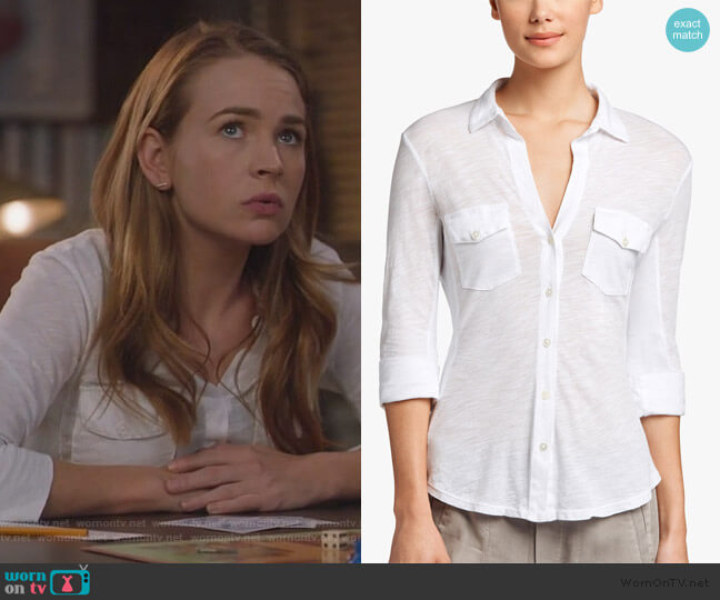 Sheer Slub Side Panel Blouse by James Perse worn by Sandra Bell (Britt Roberts) on For the People