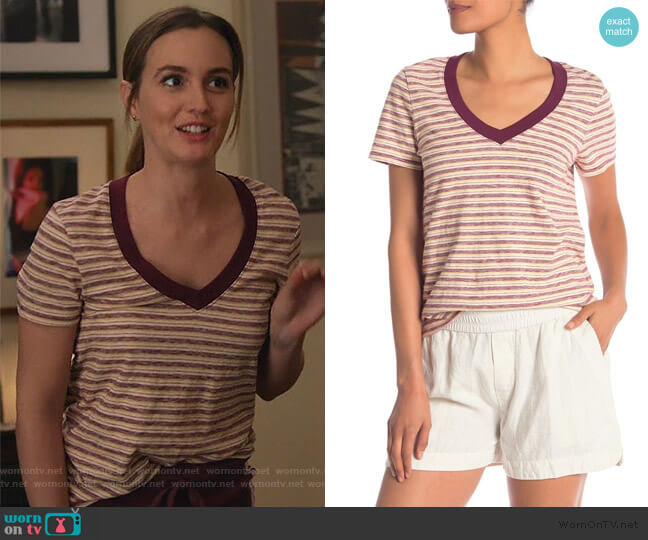 Vintage V-Neck Stripe Tee by James Perse worn by Angie (Leighton Meester) on Single Parents