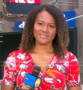 Janai's red floral wrap dress on Good Morning America