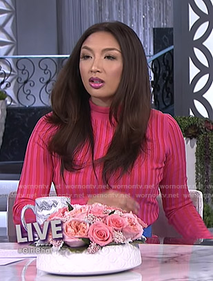 Jeannie's pink ribbed dress on The Real