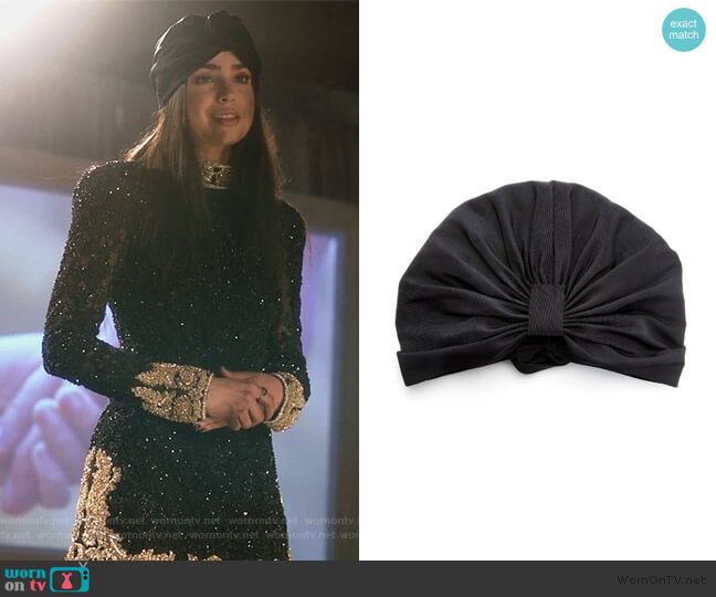 Roxanne Silk-Faille Turban by Jennifer Behr worn by Ava Jalali (Sofia Carson) on PLL The Perfectionists
