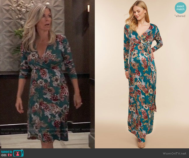 Jessica Simpson Floral Maternity Dress worn by Carly Corinthos (Laura Wright) on General Hospital