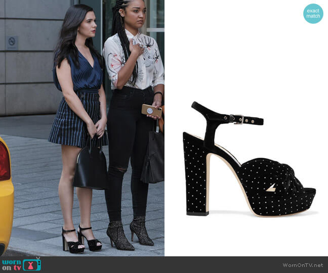 Jimmy Choo Heloise 120 glittered velvet platform sandals worn by Jane Sloan (Katie Stevens) on The Bold Type