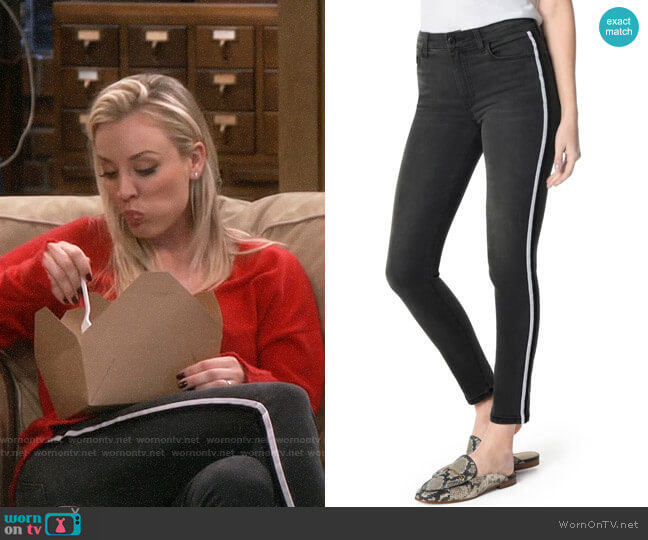 Joes Charlie Velvet Stripe Ankle Skinny Jeans worn by Penny Hofstadter (Kaley Cuoco) on The Big Bang Theory