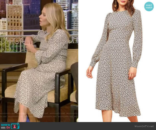 Josephine Midi Dress by Reformation worn by Kelly Ripa  on Live with Kelly & Ryan