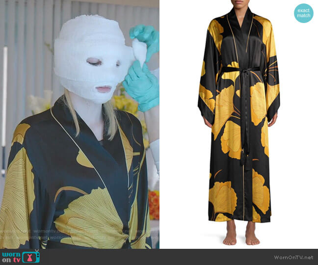 Gingko Floral Silk Robe by Josie Natori worn by Alexis Carrington (Nicollette Sheridan) on Dynasty
