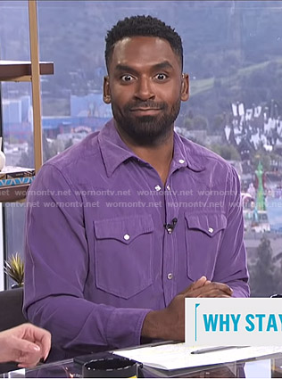 Justin's purple western shirt on E! News Daily Pop
