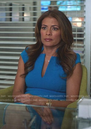 Kara's blue v-neck dress on Being Mary Jane