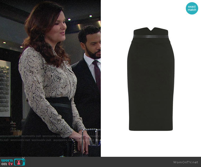 Karen Millen High-Waisted Pencil Skirt worn by Katie Logan (Heather Tom) on The Bold & the Beautiful