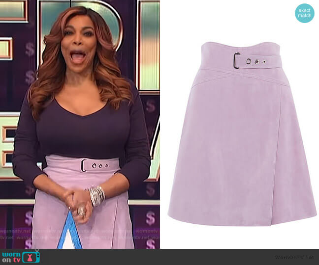 High-Waisted Suede Skirt by Karen Millen worn by Wendy Williams  on The Wendy Williams Show