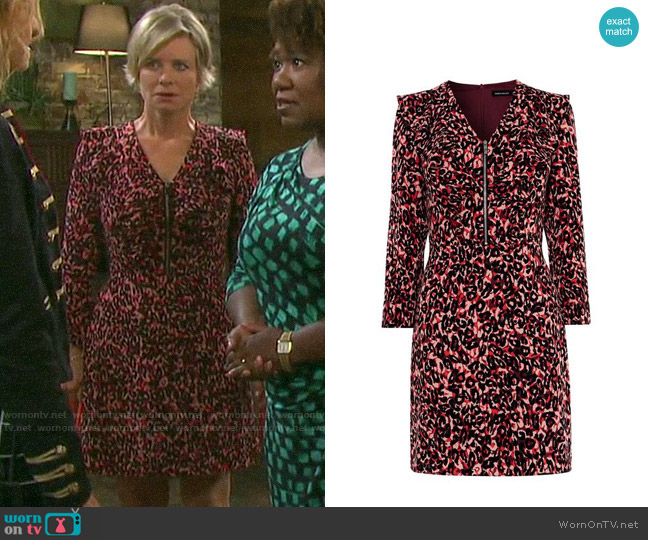 Karen Millen Leopard Print Mini Dress worn by Kayla Brady (Mary Beth Evans) on Days of our Lives