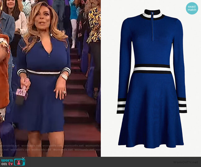 Sporty high-neck knitted dress by Karen Millen worn by Wendy Williams  on The Wendy Williams Show