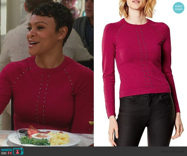 Studded Sweater by Karen Millen worn by Angela (Carly Hughes ) on American Housewife