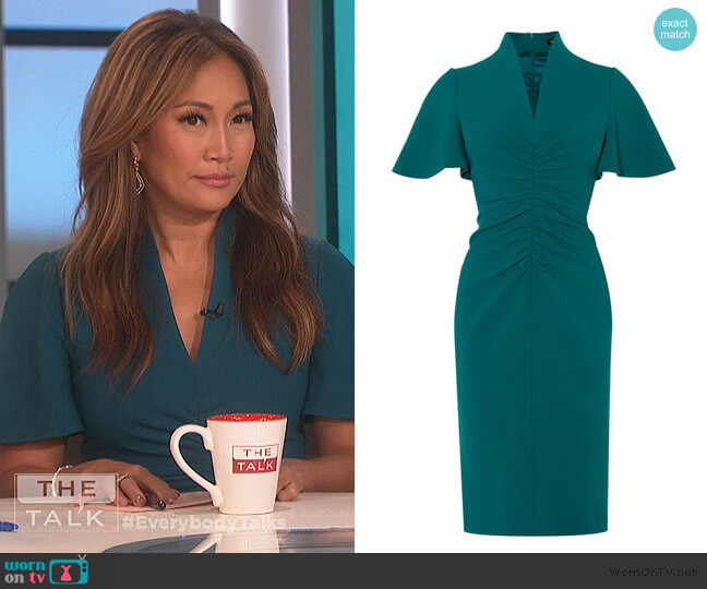 V-neck Pencil Dress by Karen Millen worn by Carrie Inaba  on The Talk