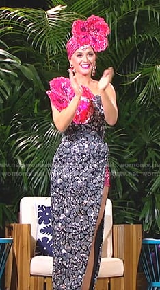 Katy's metallic floral dress on American Idol