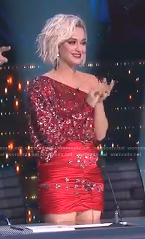 Katy's red embellished one-shoulder dress on American Idol