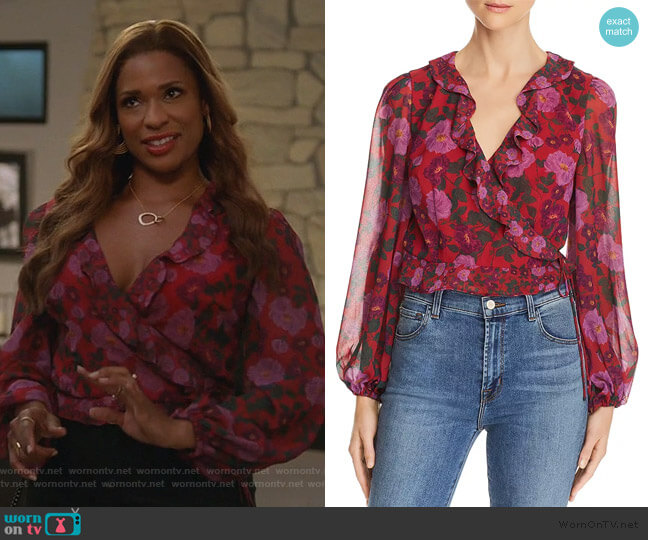 Cropped Floral-Print Wrap Blouse by Keepsake worn by Poppy (Kimrie Lewis) on Single Parents