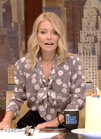 Kelly's grey floral tie neck blouse on Live with Kelly and Ryan