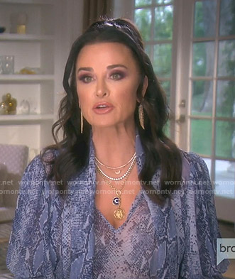 Kyle's blue snake print blouse on The Real Housewives of Beverly Hills