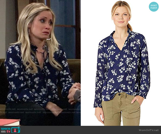 LAUREN Ralph Lauren Print Tie Neck Georgette Top worn by Lulu Spencer Falconeri (Emme Rylan) on General Hospital