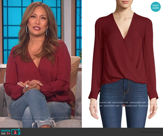 Kyla Draped Blouse by L'Agence worn by Carrie Inaba  on The Talk
