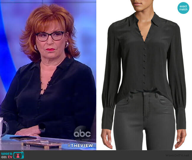 Naomi Button-Front Silk Blouse by L'Agence worn by Joy Behar (Joy Behar) on The View