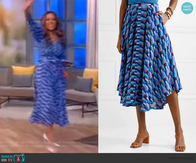 French Riviera asymmetric printed skirt by LHD worn by Sunny Hostin  on The View