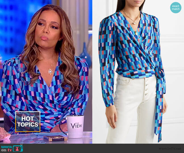 Odalys printed wrap blouse by LHD worn by Sunny Hostin  on The View