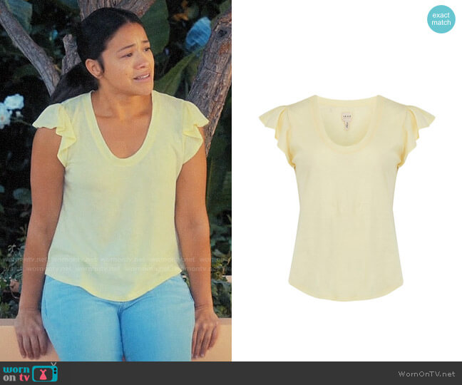 La Vie Rebecca Taylor Washed Texture Jersey Tee worn by Jane Villanueva (Gina Rodriguez) on Jane the Virgin