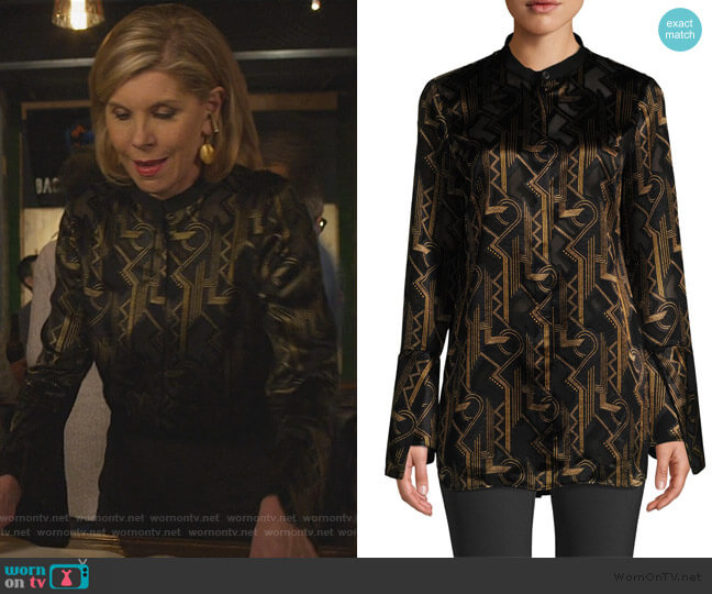 Marybeth Geometric Print Blouse by Lafayette 148 New York worn by Diane Lockhart (Christine Baranski) on The Good Fight