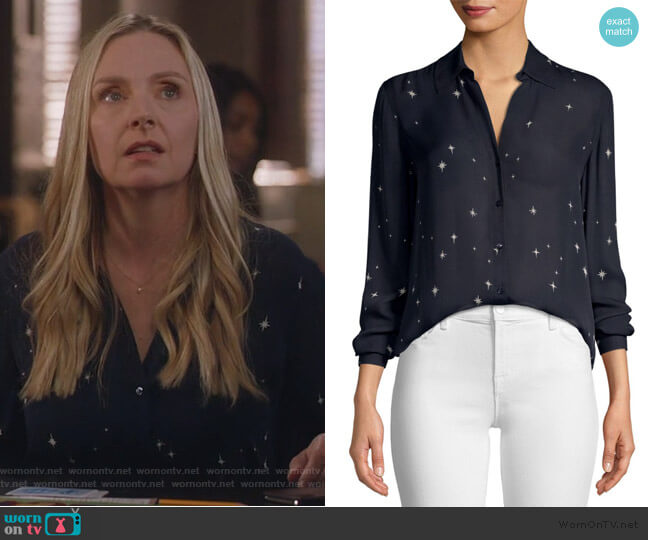 Nina Star-Print Blouse by L'Agence worn by Jill Carlan (Hope Davis) on For the People