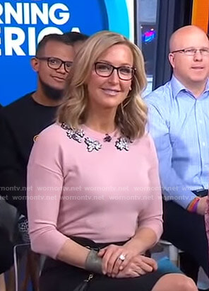 Lara's pink gemstone sweater on Good Morning America