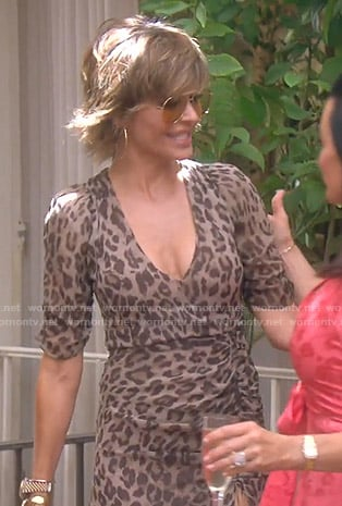Lisa's leopard print ruched dress on The Real Housewives of Beverly Hills