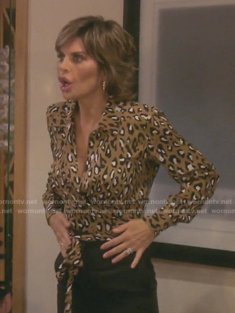 Lisa's leopard print wrap top on The Real Housewives of Beverly Hills