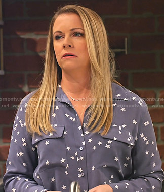 Liz's blue star print blouse on No Good Nick