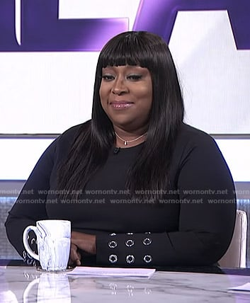 Loni's black grommet dress on The Real