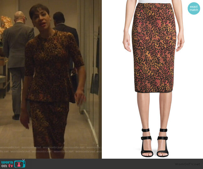 Metallic Animal-Print Pencil Skirt by M Missoni worn by Lucca Quinn (Cush Jumbo) on The Good Fight
