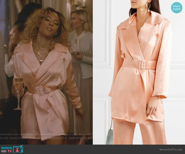 Belted Silk-Satin Blazer by Materiel worn by Tiana Brown (Serayah McNeill) on Empire